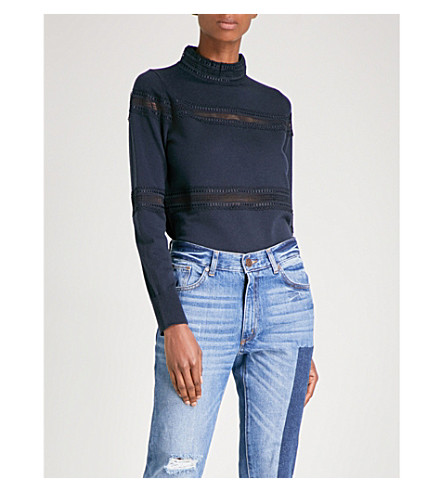 SANDRO High neck embroidered wool jumper (Navy+blue