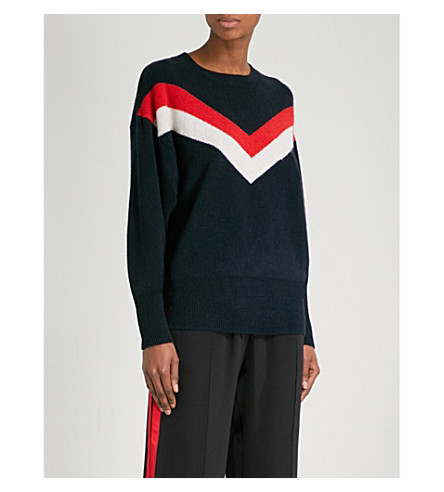 SANDRO Chevron-jacquard wool-blend jumper (Navy+blue