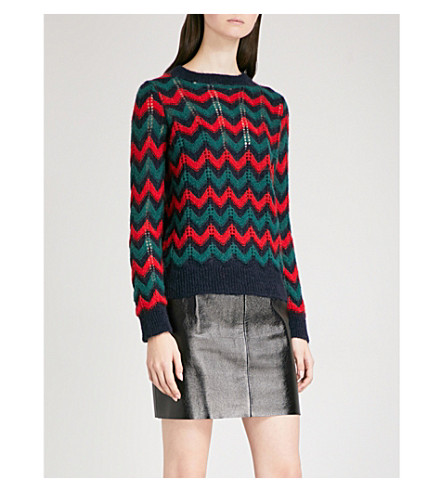 SANDRO Chevron-knit mohair-blend jumper (Multi+color