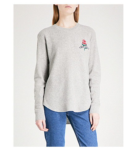SANDRO Rose-embroidered wool sweatshirt (Grey