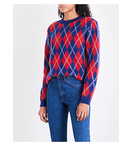 SANDRO Diamond-patterned knitted jumper (Multi+color