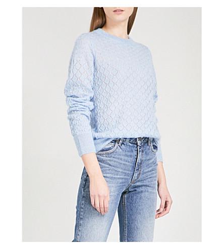 SANDRO Pointelle-knit mohair and silk-blend jumper (Sky+blue