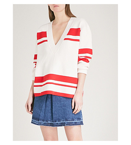 SANDRO Striped V-neck knitted jumper (Ecru