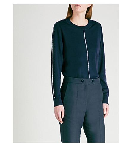 SANDRO Contrast-trim wool jumper (Marine