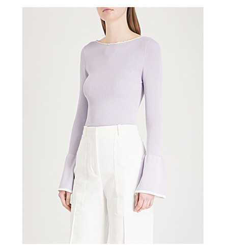 SANDRO Fluted-sleeve stretch-knit top (Parme