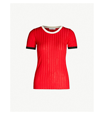 SANDRO Contrast-trim ribbed-knit top (Rouge+cerise