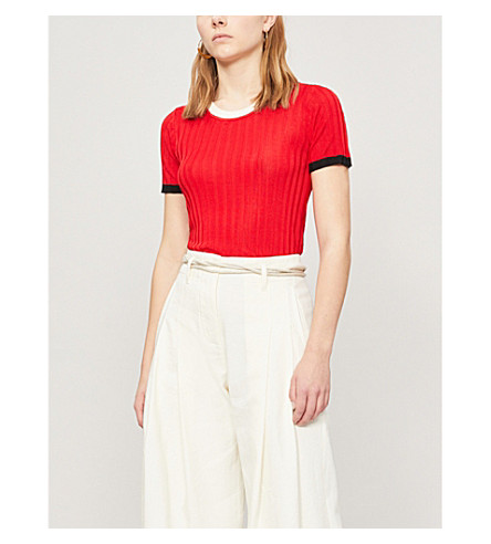 top knit ribbed top trim ribbed Contrast SANDRO knit cerise SANDRO trim Rouge Rouge cerise Contrast EnCHq