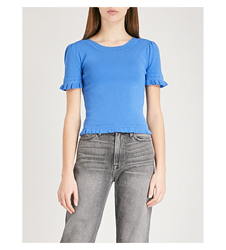 SANDRO Flared-trim knitted top (Bleu+jean