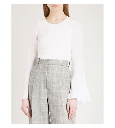 SANDRO Flared-cuff knitted top (Blanc