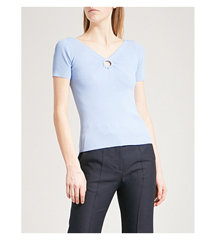 SANDRO Keyhole-detail ribbed-knit top (Bleu+ciel