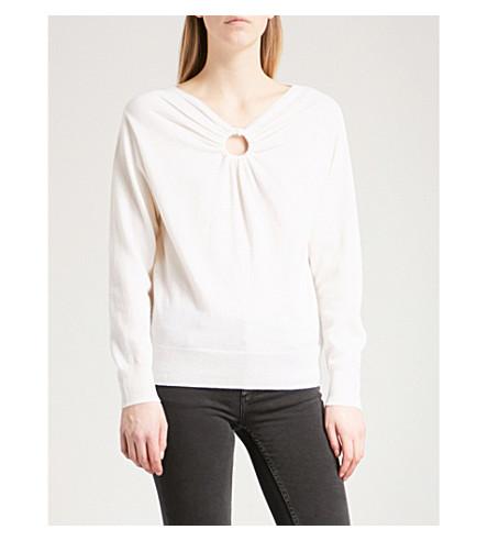 SANDRO Keyhole-detail wool and cashmere-blend jumper (Ecru