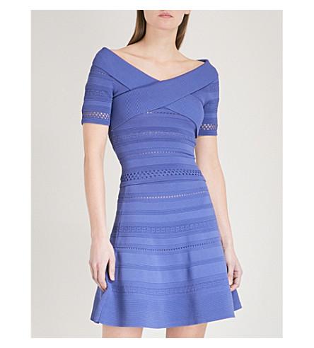 SANDRO Off-the-shoulder ribbed-knit top (Bleu