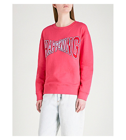 SANDRO Happening slogan-detail knitted sweatshirt (Malabar