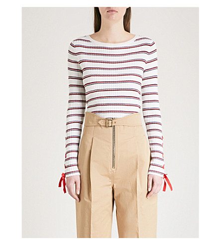 SANDRO Lace-up detail striped ribbed-knit jumper (Rouge