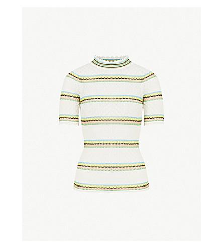 SANDRO Striped stretch-crochet top (Blanc