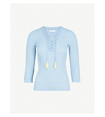 SANDRO Dotted-pattern knitted top (Bleu+ciel