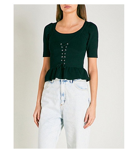 SANDRO Lace-up detail knitted peplum top (Noir