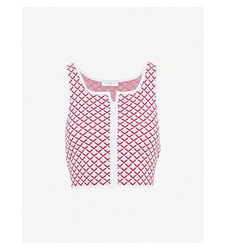 SANDRO Geometric-Jacquard knitted top (Rose