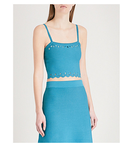 SANDRO Cutout knitted top (Bleu+turquoise