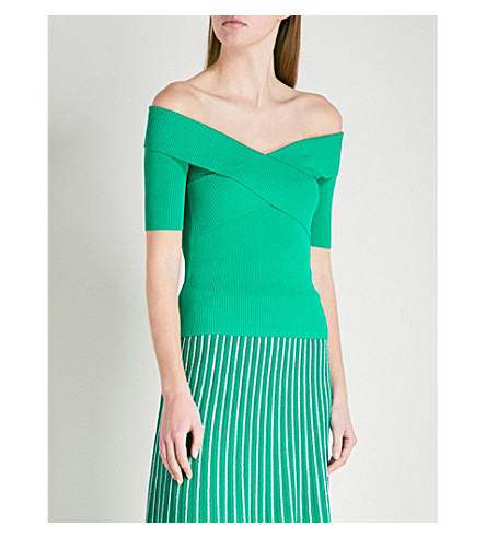SANDRO Off-the-shoulder knitted top (Vert emeraude