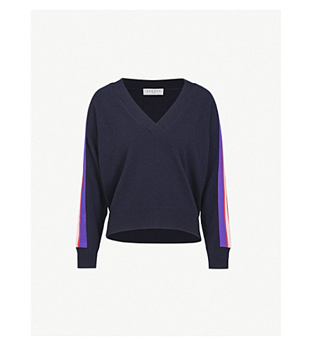 SANDRO V-neck wool and cashmere-blend jumper (Marine