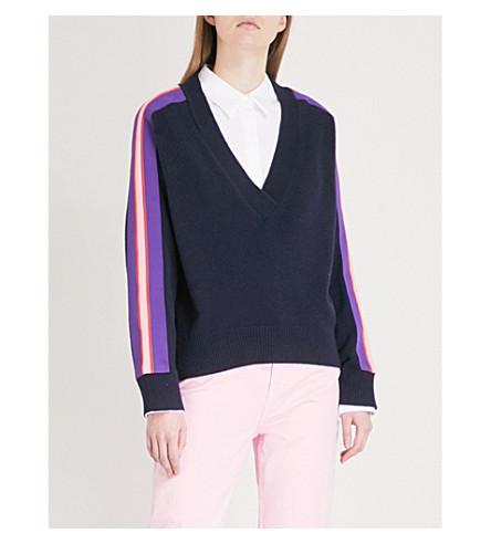 SANDRO neck wool Marine jumper blend cashmere and V SANDRO V 4wH7Wqgc6