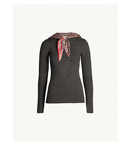 SANDRO 豹纹颈领带罗纹针织毛衣 (嘲弄 + 灰色