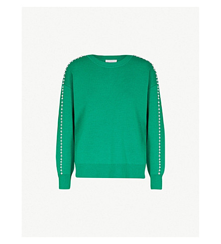SANDRO Embellished-trim knitted jumper (Jardin