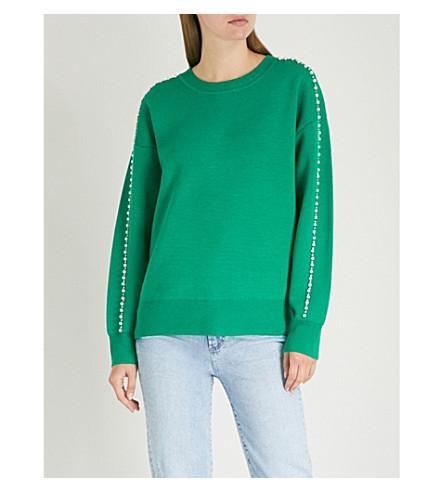SANDRO Embellished-trim knitted jumper (Jardin