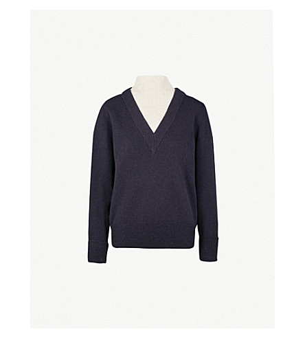 SANDRO High-neck underlay wool-blend jumper (Deep navy