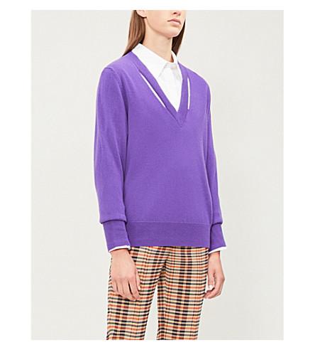 SANDRO 镂空 V领羊毛和羊绒混纺毛衣 (紫色