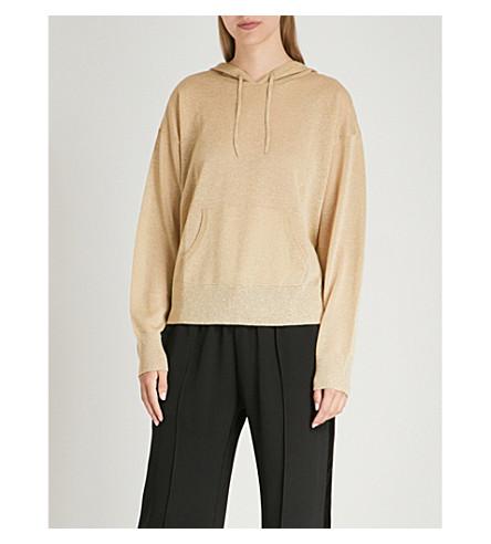 SANDRO Metallic fine-knit hoody (Or