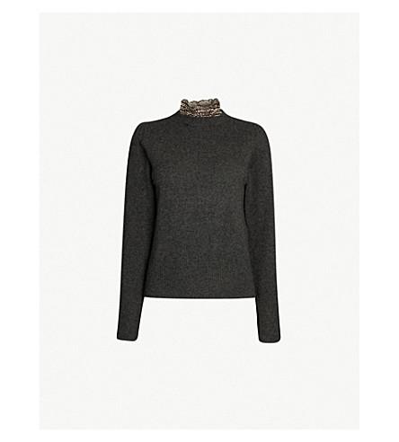 SANDRO 可拆卸衣领羊毛毛衣 (嘲讽 + 灰色