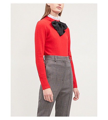 SANDRO 阴弓对比面板羊毛毛衣 (红色