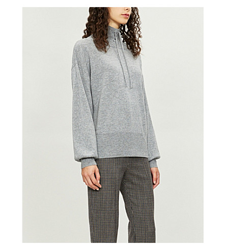 SANDRO 花边高领衫羊毛和羊绒混纺毛衣 (灰色