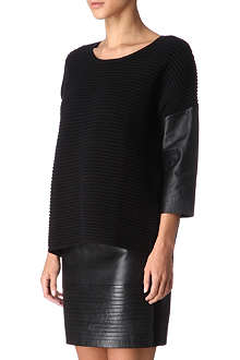 SANDRO Scrupule leather and knit top