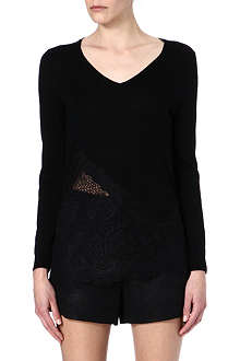 SANDRO Sagesse lace and wool jumper