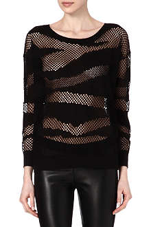 SANDRO Mesh striped jumper