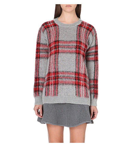 SANDRO Stacy check jumper (Red