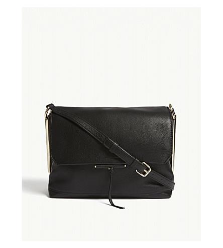 SANDRO Bia grained leather shoulder bag (Black