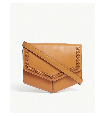 SANDRO Lou medium woven leather cross-body bag (Yellow