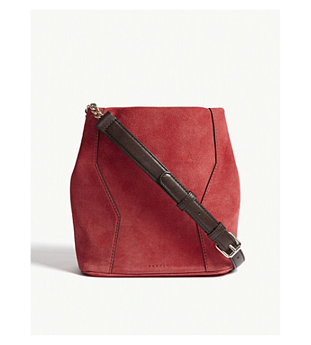 SANDRO Yza suede bucket bag (Brown