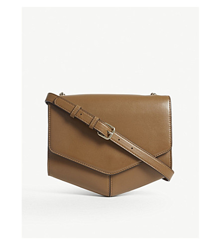 SANDRO Lou leather cross-body bag (Alezan