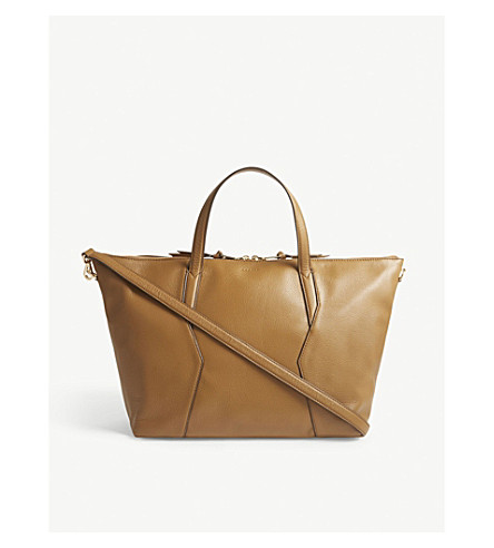 SANDRO Grained leather tote bag (Brown