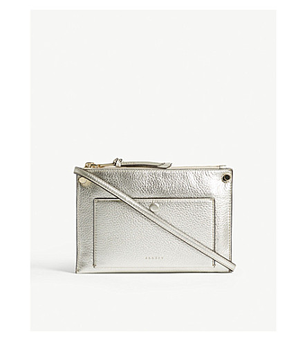 SANDRO Bianca metallic leather shoulder bag (Or