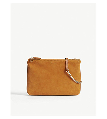 SANDRO Addict suede cross-body bag (Curcuma