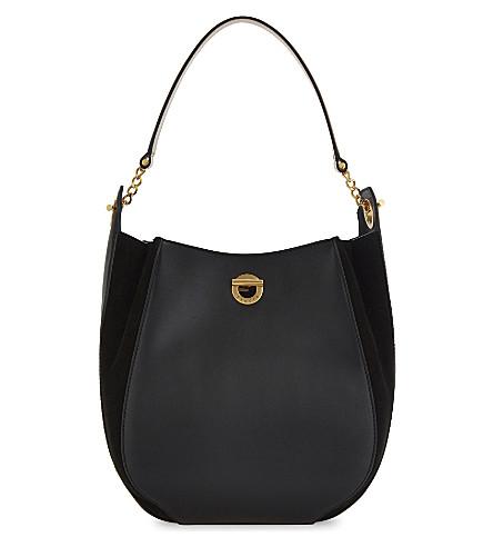 SANDRO Camille leather hobo bag (Black