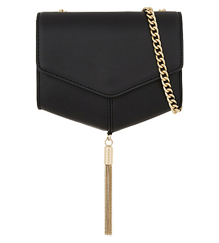 SANDRO Lou tasselled leather clutch (Black