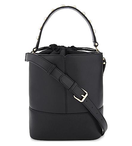 SANDRO Lou leather bucket bag (Black
