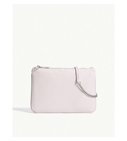 SANDRO Addict leather cross-body bag (Rose+vif